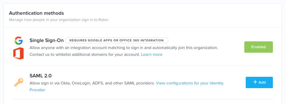 Enabling single sign-on via ADFS – Robin Help Center