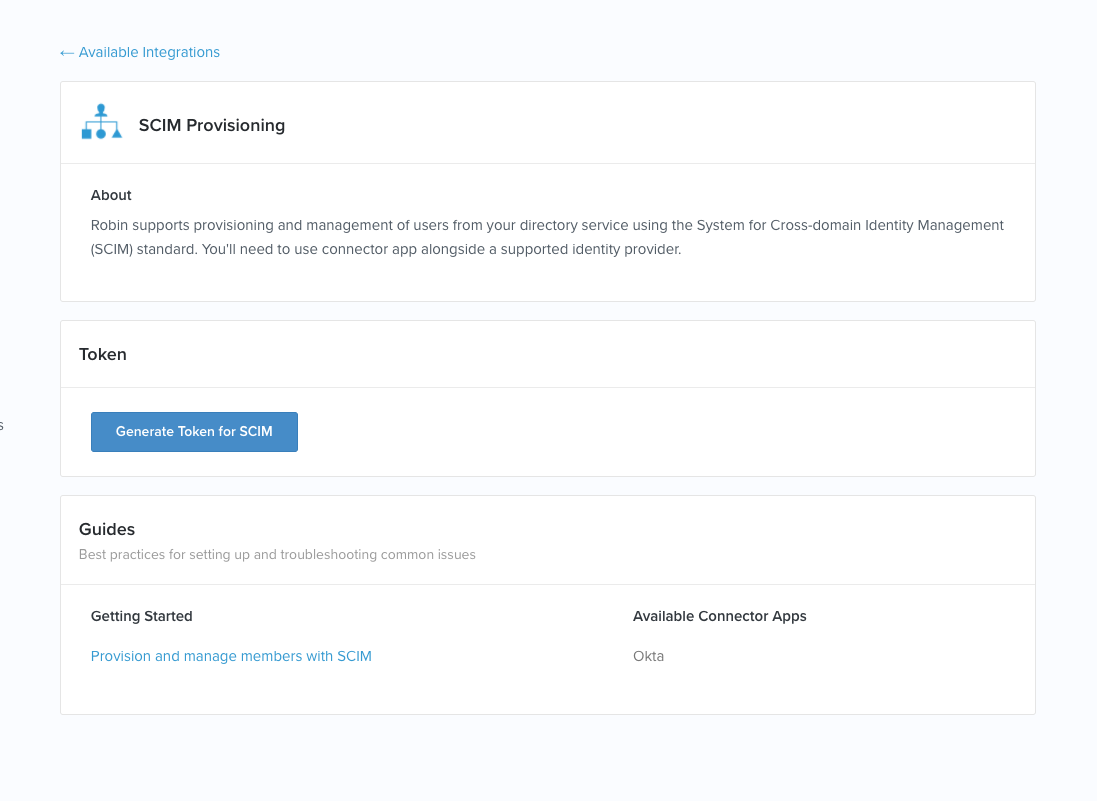 SCIM provisioning using Okta's connector app – Robin Help Center