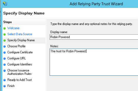 Display name for relying trust party